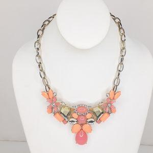 J. Crew  Ornate Neon Orange  & Salmon Necklace